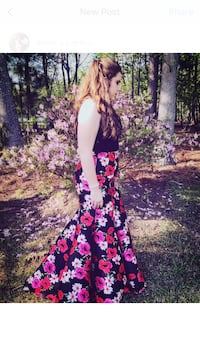 Women's black and pink floral prom dress 2 piece size 11/12