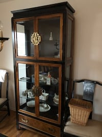 Oriental style china cabinet table 8 chairs can be sold separately