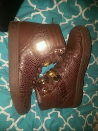 pair of brown leather high-top sneakers Ruston, 71270