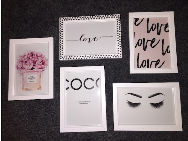 Used three white and black wooden photo frames for sale in ...