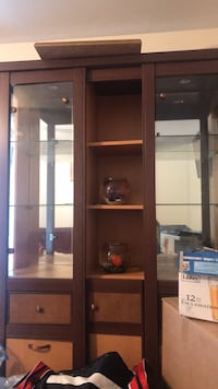 brown wooden framed glass display cabinet Clifton, 07011