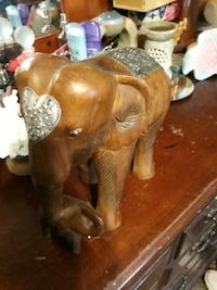 Hand carved elephant and baby