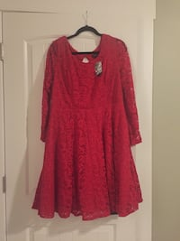 red laced long-sleeved dress