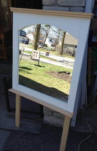 White framed mirror on stand for desk or dresser (cut legs off for wall) Oshawa
