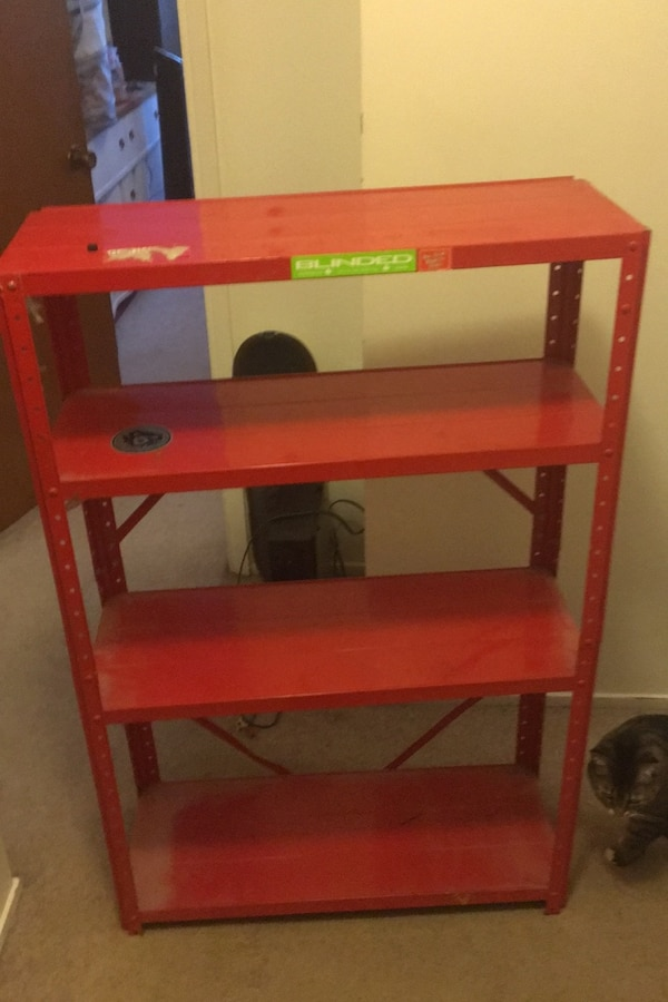 Old red shelving