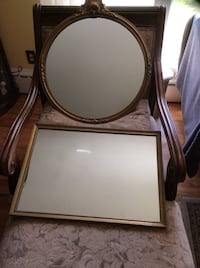 2 Beautiful Antique Mirrors A Square &  Round Package Deal