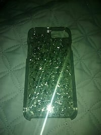 clear and silver glittered silicone iPhone case