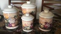 four white-and-red floral ceramic jars Fort Myers, 33967