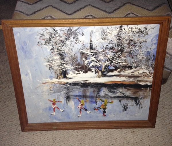 used vintage morris katz painting on masonite board for sale in