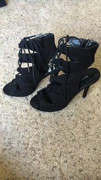 Chinese Laundry Black Lace-Up Heels, Size 8.5 Pacifica, 94044