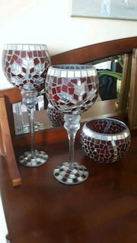 3 Decorative Mosaic Glass Candle Holders.  Aurora, L4G 6Z6