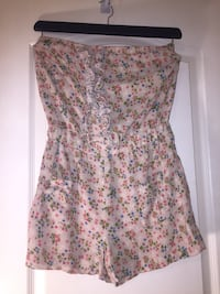 Brown and multicolored floral strapless romper Orlando, 32812