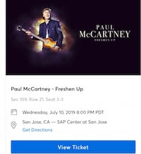 Paul McCartney concert ticket San Jose, 95127
