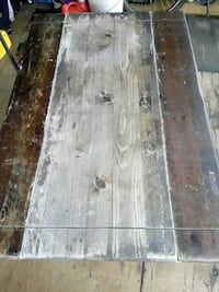 rectangular brown and white wooden table