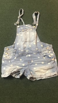 blue and white denim overall shorts