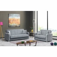 FLOOR MODEL SOFABED  AND LOVESEAT WITH STORAGE