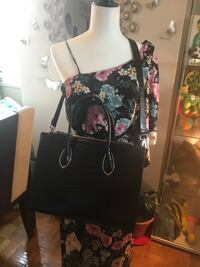 black and pink floral leather tote bag Toronto, M1K 4G5