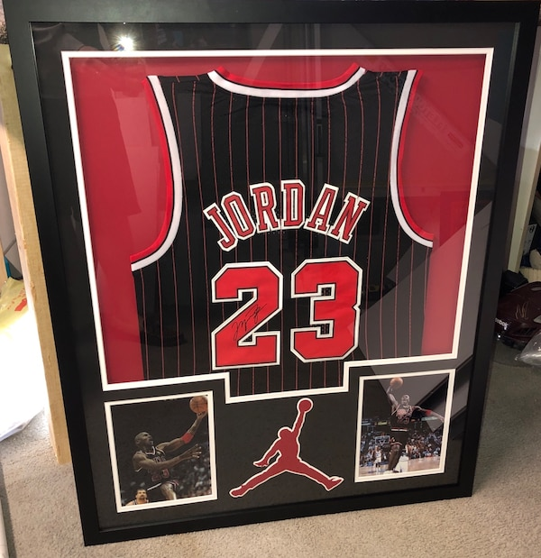 best sneakers 8bd28 9afa6 Michael Jordan signed and framed jersey