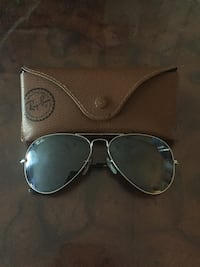 "(Gently Used) 55"" Silver-Rimmed Ray Ban Sunglasses w/ Leather Case"