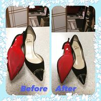 pair of black-and-red pointed-toe heel sandals collage Richmond Hill, L4B 0C6