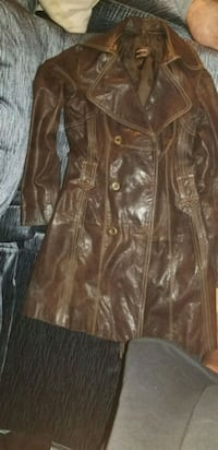 brown leather trench coat Winnipeg