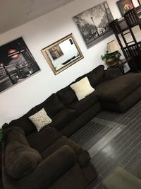 Used Charcoal Grey Couch W Convertible Lounger For Sale
