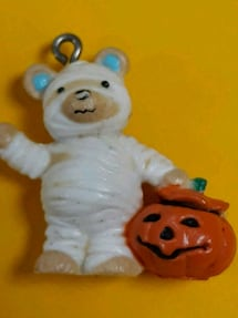 Cutest Adorable Vintage Teddy Bear Mummy w/Pumpkin