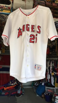 white and red Los Angeles Angels 25 jersey shirt