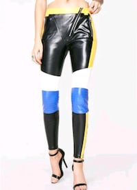 Yellow & Blue Faux Leather Pants District Heights, 20747