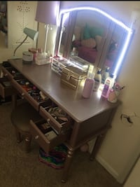 Rose gold makeup vanity