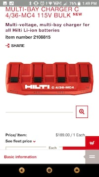 Hilti maultibay charger  Calgary, T2A 2G8