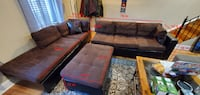 Brown microfiber sectional couch & ottoman