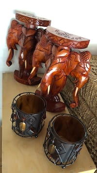 """Elephant Book Ends, 6""""x9"""" & Candle Holders"""