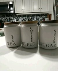 """3 white ceramic containers, 6"""" tall London, N6A 1V4"""