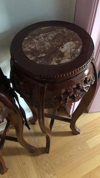 round brown wooden side table 洛克波特, 14094