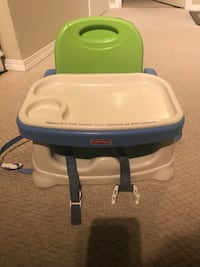 baby's white and blue Chicco high chair