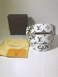 White LV x Supreme Belt