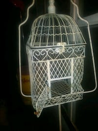 white steel birdcage