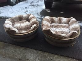 Two brown and gray fabric sofa chairs