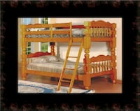 Wooden twin bunkbed frame with 2 mattress Herndon, 20171