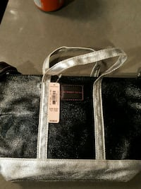 black and gray leather tote bag Los Angeles, 90044