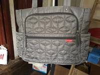 Gray and black leather tote bag