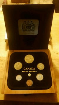 1982 Canadian 6 Coin Set in Wooden box & original packaging.