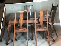 rectangular brown wooden table with six chairs dining set Toronto, M5B 2J9