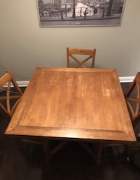 Square/round brown wooden table - bar height - with six chairs dining set Toronto, M8W 4E1