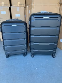 2pcs Black Hardcover Luggage Suitcases Set