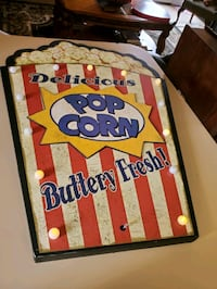 Large popcorn lighted sign