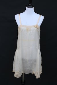 1920s Ivory Silk Teddy w/Passementerie and Lace Castaic, 91384
