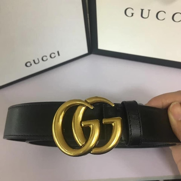 03686aa96ed Used black Gucci leather belt with gold buckle for sale in Tacoma ...