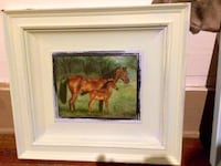 painting of two brown horse